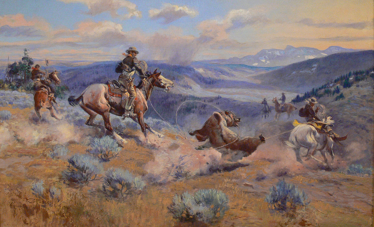 WESTERN ART POSTER Hunting Buffalo Charles M Russell