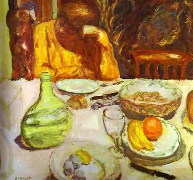 Carafe, Marthe Bonnard with Her Dog, 1912, oil on canvas, Private Collection