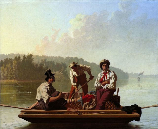 Boatmen on the Missouri, 1846, oil on canvas, 63.5 x 76.2cm, Fine Arts Museums of San Francisco