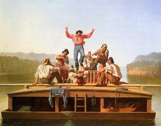 The Jolly Flatboatmen, 1846, oil on canvas, 96.8 x 123.2cm, Nelson-Atkins Museum of Art