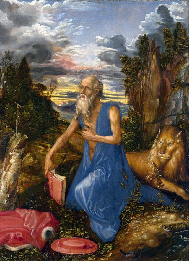 Saint Jerome in the Wilderness, ca. 1496, oil on wood, 23.1 x 17.4cm, National Gallery, London